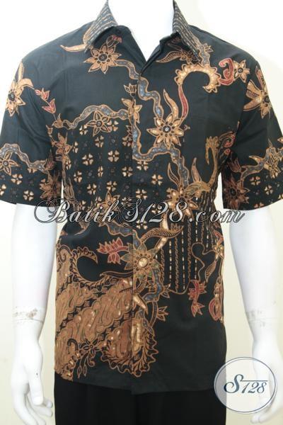 Baju Batik Pria Keren Warna Hitam Motif Modern Kontemporer