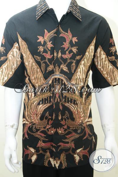 Baju Batik Pria Motif Burung Warna Hitam, Elegan Eksklusif, Ukuran Jumbo Besar [LD2008TS-XXL]