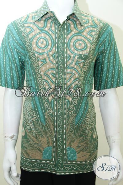 Baju Kemeja Batik Hijau Elegan Cool Calm Confidence [LD2020T-L]