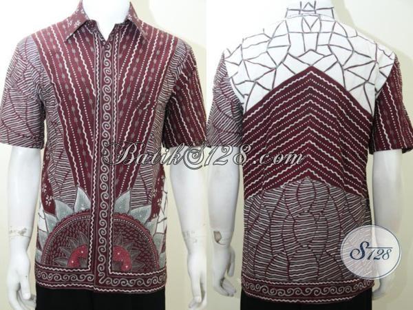 Baju Kemeja Batik Laki-Laki Warna Merah Marun, Batik Tulis Asli Solo [LD2021T-L]