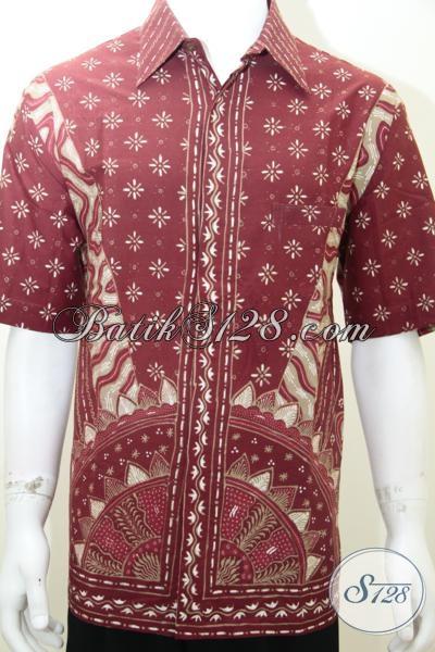 Baju Batik Warna Merah Keren, Kemeja Batik Tulis Motif Klasik Modern Menambah Penampilan Pria  Lebih Gagah Dabn Elegan, Size XL