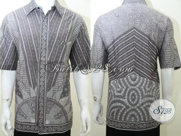 Koleksi Terbaru Toko Batik Solo, Kemeja Bati Tulis Lengan Pendek Warna Abu-Abu Bahan Halus Adem Nyaman Dipakai, Size Jumbo XXL (3L)