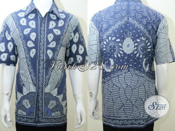 Baju Batik Warna Cerah Ukuran Besar Jumbo Warna Biru, Cocok Untuk Hadiah Kado Pejabat, Bos Kantor [LD2027T-XXL]