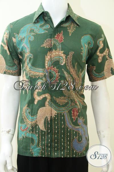 Baju Batik Kemeja Lengan Pendek Warna Hijau, Batik Tulis Murah Berkualitas [LD2030T-M]