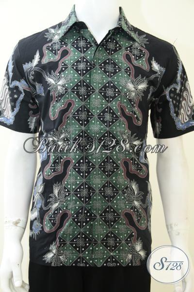 Hem Batik Tulis Model Terbaru, Baju Batik Lengan Pendek Warna Hitam Elegan, Size M