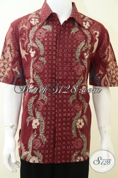Baju Batik Pria Warna Merah Tampil Elegan Berkelas