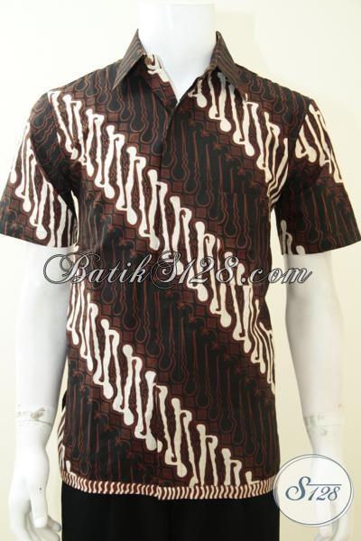 Kemeja Batik Kombinasi Tulis Terbaru, Baju Batik Klasik Modern Pria Muda Dan Dewasa Model Lengan Pendek, Size M