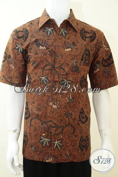 Kemeja Batik Klasik Khas Solo Indonesia, Hem Batik Motif Unik  Lengan Pendek Untuk Kondangan, Size L