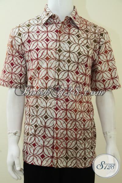 Busana Batik Bagus Halus Berkelas, Hem Batik Cap Tulis Lengan Pendek Berpadu Warna Cerah Yang Trendy, Cocok Untuk Resmi Dan Santai, Size L