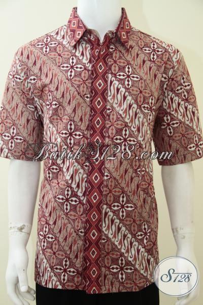 Jual Kemeja Batik Pria Model Terbaru, Hem Batik Solo Proses Cap Bahan Katun Halus Adem Nyaman Dipakai, Baju Batik Kerja Cowok Aktif, Size XL