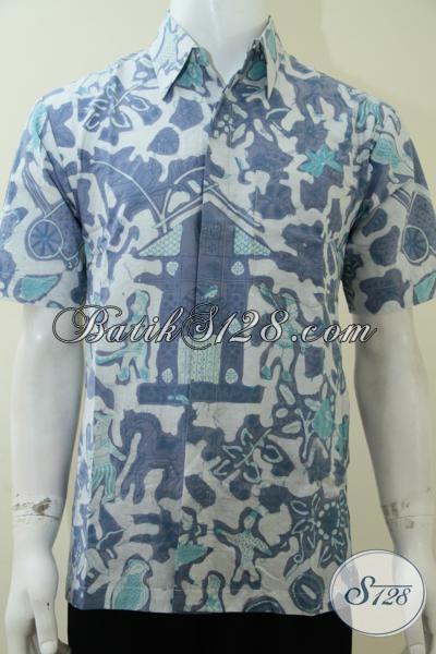 Busana Batik Trendy Motif Kompeni Sangat Cocok dikenakan Oleh Pria Muda Yang Aktif Dan Kreatif, Baju Batik Lengan Pendek Asli Buatan Solo, Size M