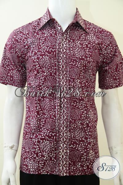 Kemeja Batik Trendy Warna Merah Berpadu Motif Ikan Terlihat Fashionable, Baju Batik Kerja Pria Karir Masa Kini, Size L