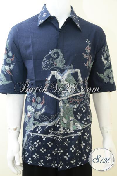 Baju Batik Tulis Wayang Motif Dewi Shinta Untuk Pria Warna Biru Ukuran Besar [LD2128T-XXL]