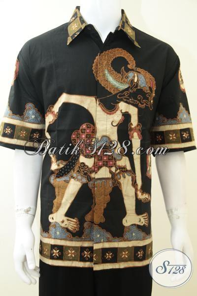 Jual Kemeja Batik Tulis Paling Laris Saat Ini, Baju Batik Lengan Pendek Motif Wayang Bima/Brotoseno/Werkudoro, Size XXL (3L) Jumbo