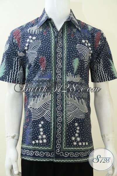 Baju Batik Tulis Premium Bahan Katun Halus Warna Biru Keren Banget Bro, Kemeja Batik Kerja Lengan Pendek Fashionable, Size M