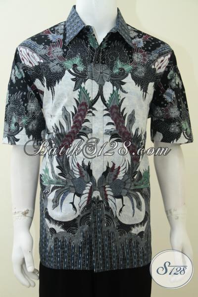 Jual Baju Batik Tulis Mahal Bahan Halus Premium, Kemeja Batik Lengan Pendek Mewah Berkelas Langganan Pejabat Publik, Size XL