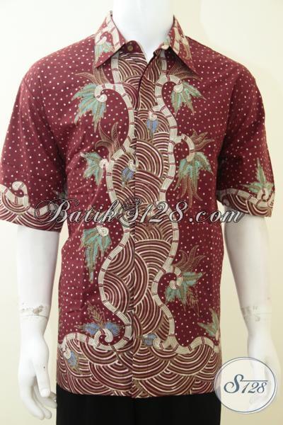 Kemeja Batik Warna Merah Motif Klasik Modern Mahal Bagus, Baju Batik Solo Trendy Tampil Mewah Sekelas Pejabat, Size XXL