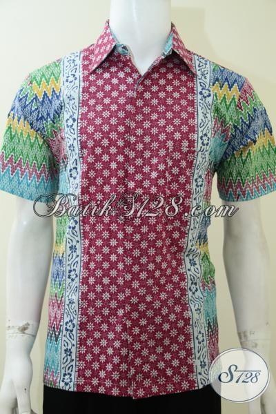 Kemeja Batik Keren Trendy Motif Rangrang Truntum, Baju Batik Pria Muda Dengan kombinasi Warna Cerah Tampil Lebih Fresh Dan Makulin, Size M