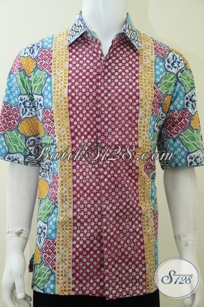 Trend Busana Batik Remaja Dan Mahasiswa 2014, Baju Batik Lengan Pendek Gaul Untuk Tampil Lebih Modern Dan Modis, Size XL