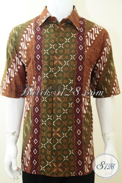 Kemeja Batik Solo Cap Tulis Motif Trendy, Baju Batik Lengan Pendek Pria Dewasa Cocok Untuk Pakaian Kerja, Size XXL (Jumbo)
