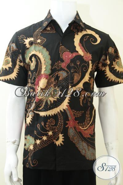 Pusat Penjualan Kemeja Batik Tulis Lengan Pendek, Busana Batik Solo Modern Motif Abstrak Kontemporer Berpadu Dasar Hitam Elegan, Size M
