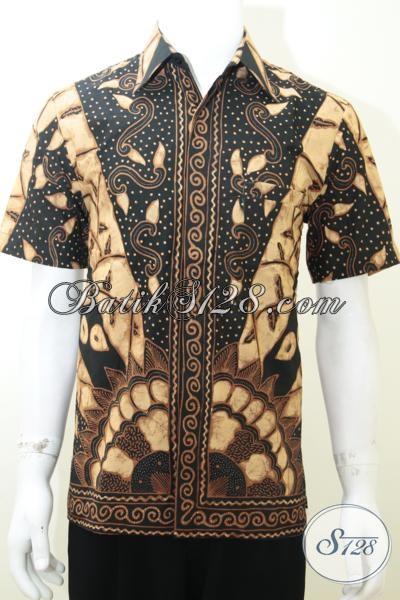 Kemeja Batik Lengan Pendek Proses Tulis Keren Dan Mewah, Baju Batik Klasik Modern Elegan Dan Berkarakter, Size M