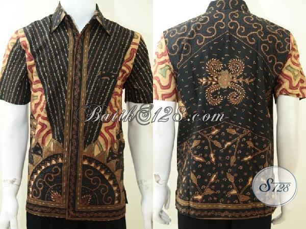 Tren Baju Batik Tulis Mewah Masa Kini, Kemeja Batik Matahari Motif Bagus Kain Halus Nyaman Dipakai, Baju Batik Daleman Furing Mewah Berkelas, Size M
