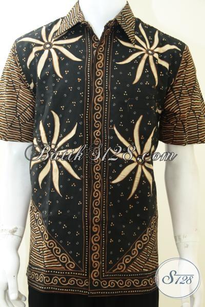 Hem Batik Mewah Trendy Klasik Modern, Busana Batik Solo Pria Muda Dan Dewasa Tampil Lebih Keren Mewah Berkarakter, Size L