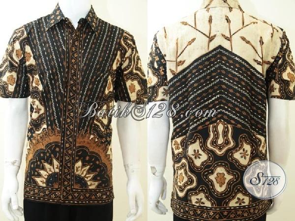 Kemeja Batik Solo Klasik Modern Untk Kerja Kantoran, Busana Batik Lengan Pendek Mewah Prmium Tampil Gagah Dan Tampan, Size L