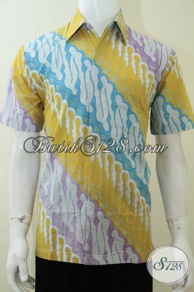 Baju Batik Pria Modern Yang Gaul Dan Modis, Kemeja Batik Printing Bagus Harga Murah, Size M