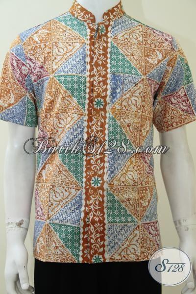 Hem Batik Kerah Shanghai Dengan Motif Modern, Baju Batik Koko Warna Cerah Gaul Untuk Lebaran, Size S