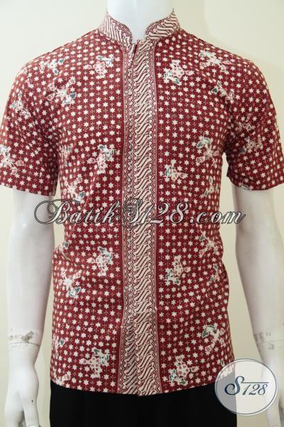 Busana Batik Modern Dan Gaul Solo Asli, Hem Batik Koko Kerah Shanghai Untuk Cowok Tampil Lebih Keren Dan Trendy, Size S