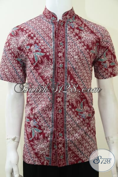 Koko Batik Keren Warna Merah, Baju Kerah Shanghai Mantap Bro [LD2236CTK-M]