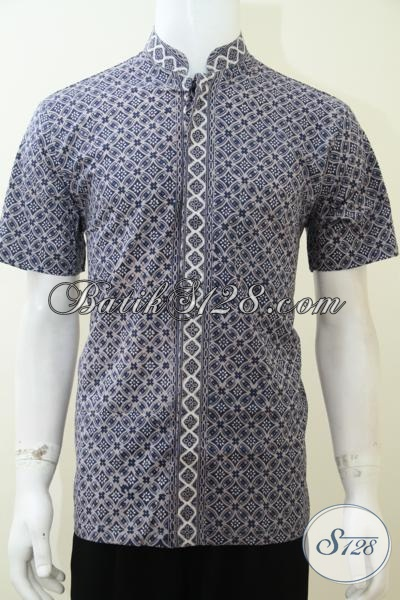 Hem Batik Modern Model Koko Atau Kerah Shanghai, Baju Batik Muslim Lengan Pendek Cocok Untuk Lebaran, Size M