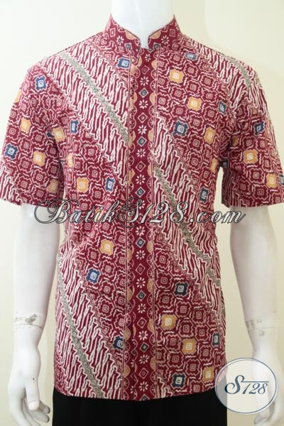 Baju Koko Batik Kemeja Pria Warna Merah, Bagus Banget [LD2246CTK-L]