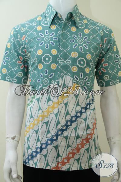 Batik Modern Pria Motif Pagi Sore Warna Tosca Putih Keren, Untuk Anak Muda Dan Berjiwa Muda [LD2259C-M]