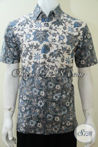 Busana Batik Solo Istimewa, Baju Batik Lengan Pendek Dengan Gabungan Dua Motif Semakin Trendy Dan Mewah, Size M