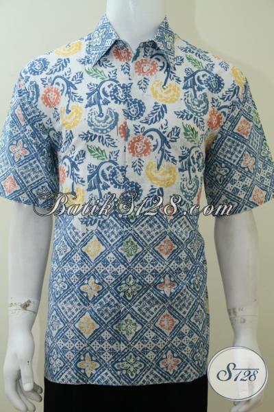 Kemeja Batik Solo Bagus Trendy Dan Keren, Baju Batik Lengan Pendek Pria Muda Tampil Sempurna, Size L