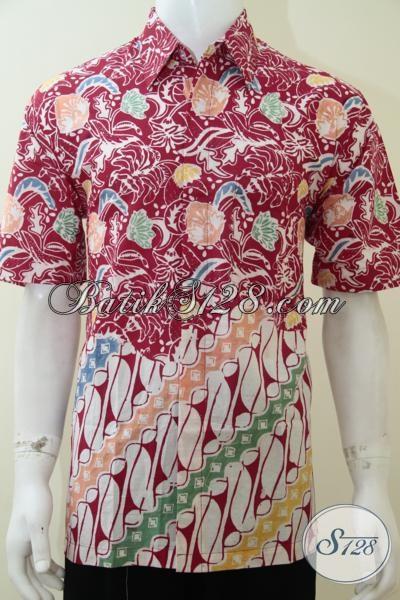 Pusat Busana Batik Solo Lengkap Terpercaya, Jual Hem Batik Pria Katir Motif Bagus Warna Keren Sempurnakan Penampilan Pria Sejati, Size L