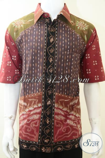 Baju Batik Pria Warna Cerah Cocok Untuk Acara Santai, Hem Batik Tulis Lengan Pendek Kwalitas Premium Harga Minimum, Size XL