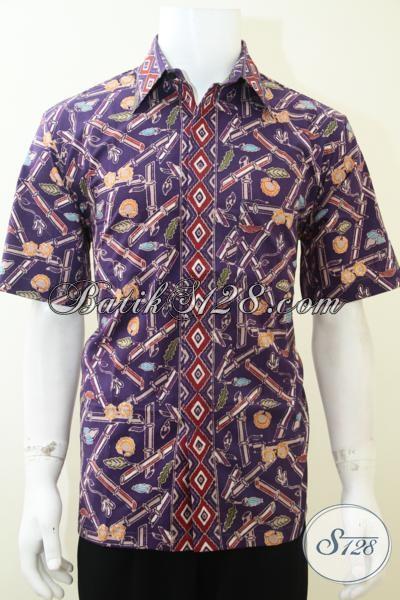 Kemeja Batik Lengan Pendek Warna Ungu Bermotif Bambu, Baju Batik Resmi Dan Santai Pria Muda Masa Kini, Size M – L