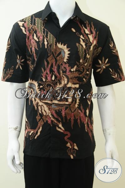 Baju Kemeja Batik Warna Hitam Pria Modern Dijual Online