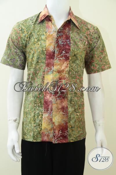 Baju Batik Remaja Pria Motif Modern Warna Hijau Keren