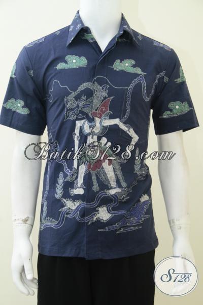Pakaian Batik Pria Muda Masa Kini, Hem Batik Lengan Pendek Motif Tokoh Wayang Gatotkaca, Size M