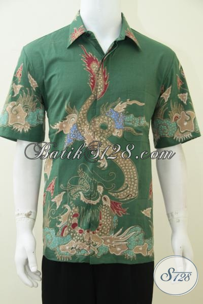 Batik Naga Hijau, Baju Kemeja Motif Naga, Batik Tulis Asli Solo [LD2341T-L]