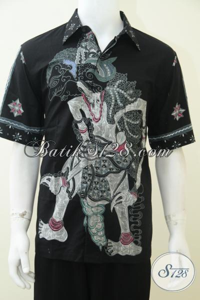 Baju Batik Wayang Dasar Hitam Untuk Laki-Laki Tampil Gagah Dan Elegan, Baju Batik Kerja Kwalitas Bagus Harga Terjangkau, Size L