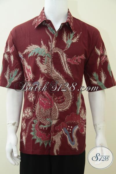 Online Shop Kemeja Batik Terkenal, Jual Hem Batik Tulis Merah Motif Naga Trend Busana Pria Masa Kini, Size XL
