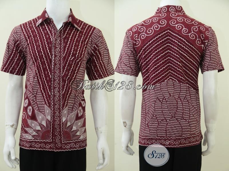 Baju Kemeja Batik Tulis Cowok Modern Terbaru Warna Merah