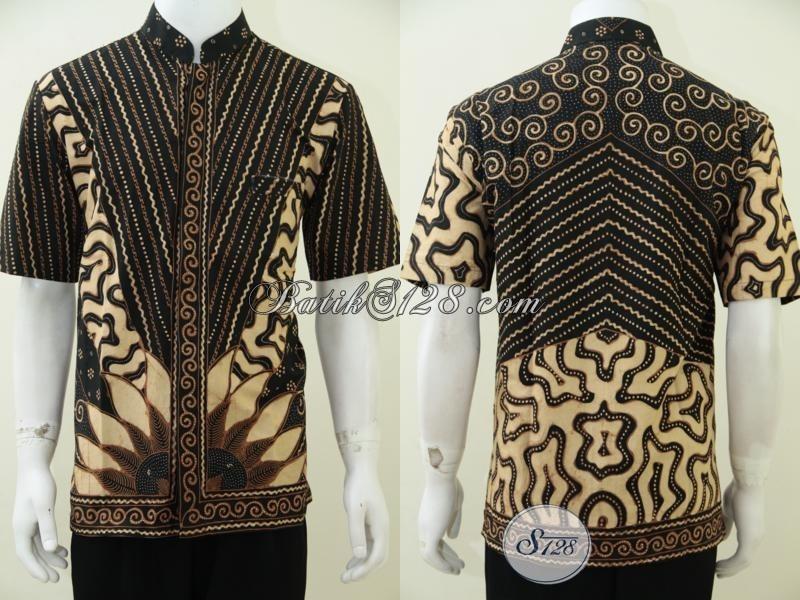Kemeja Batik Pria Model Koko, Baju Batik Lebaran Krah Shanghai Trendy Dan Gaul, Size L