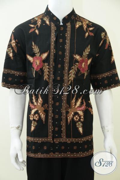 Hem Batik Tulis Kwalitas Premium Model Krah Shanghai, Pakaian Batik Motif Klasik Modern Lengan Pendek Cocok Untuk Merayakan Lebarn, Size XL